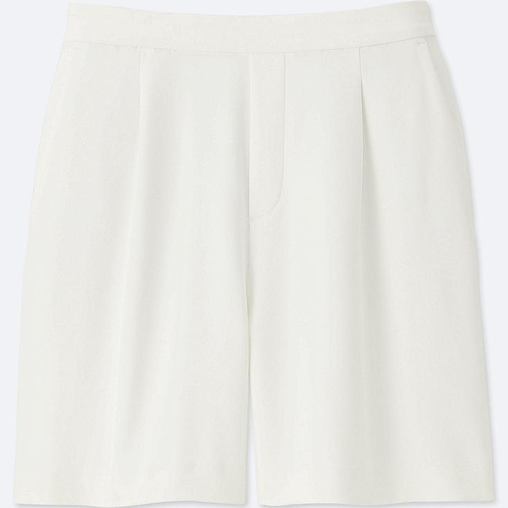 WOMEN HIGH RISE DRAPE SHORTS, OFF WHITE, large