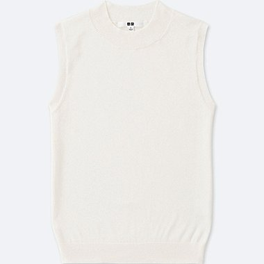 WOMEN Supima® COTTON SLEEVELESS SWEATER, OFF WHITE, medium