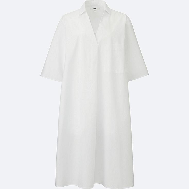 WOMEN Crisp Cotton A Line Shirt Dress