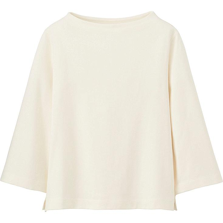 WOMEN MOCK NECK WIDE 3/4 SLEEVE T-SHIRT, OFF WHITE, large