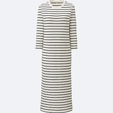 WOMEN Ribbed Cotton Striped Long Dress