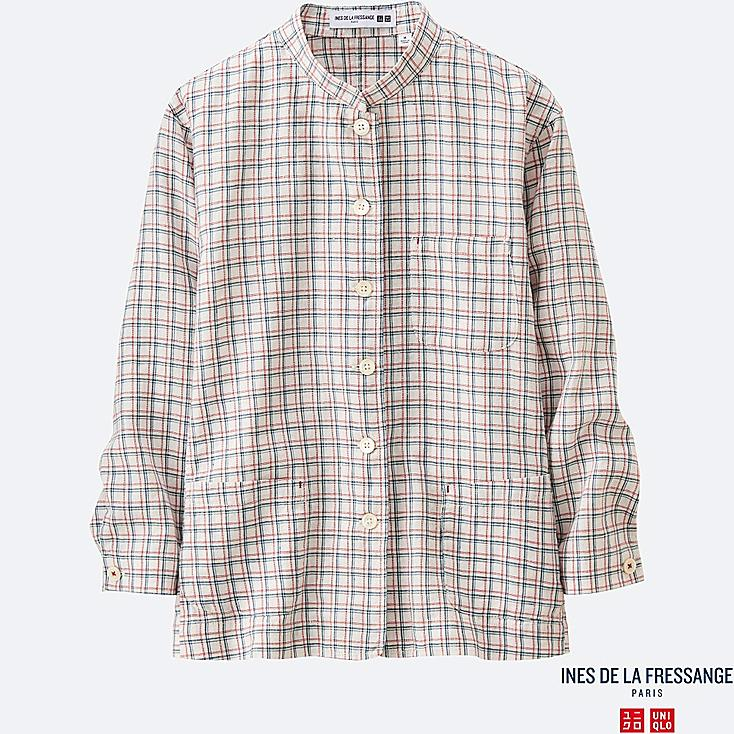 WOMEN INES Linen Cotton Madras Check Shirt Jacket