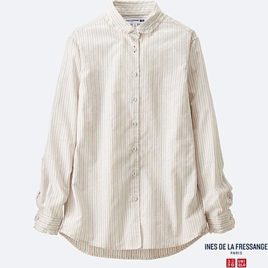 WOMEN IDLF COTTON STRIPED FRILL COLLAR LONG-SLEEVE SHIRT, OFF WHITE, medium