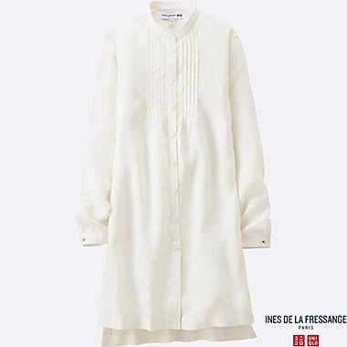 WOMEN INES Premium Linen Pin Tuck Long Sleeve Tunic