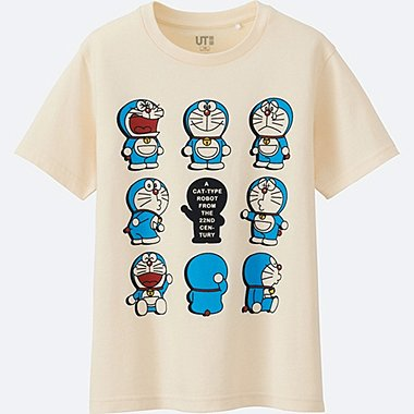 KIDS DORAEMON SHORT SLEEVE GRAPHIC T-SHIRT, OFF WHITE, medium