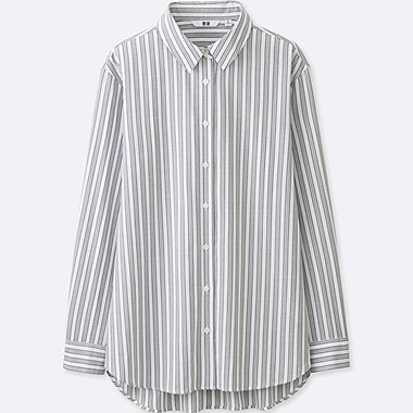 WOMEN RAYON STRIPED LONG SLEEVE, OFF WHITE, medium