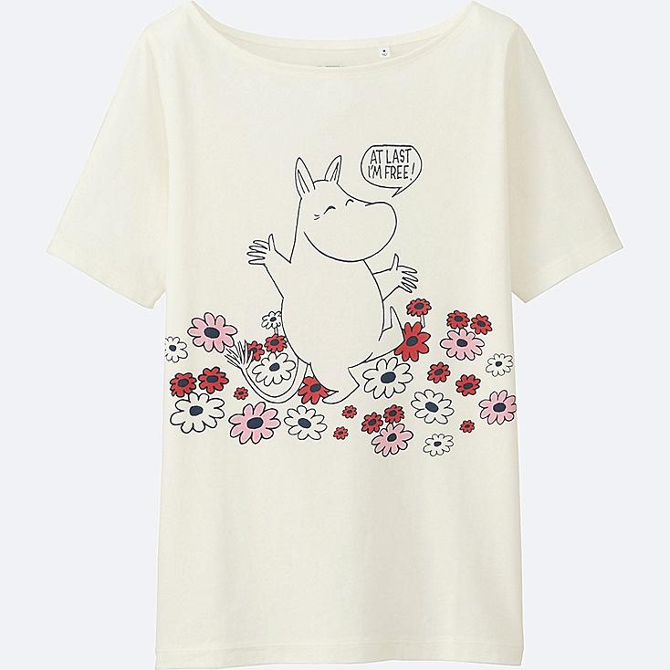 WOMEN MOOMIN SHORT SLEEVE GRAPHIC T-SHIRT, OFF WHITE, large
