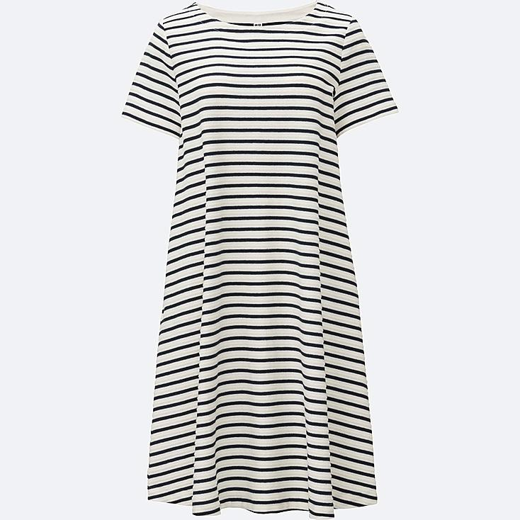 WOMEN JACQUARD STRIPED DRESS, OFF WHITE, large