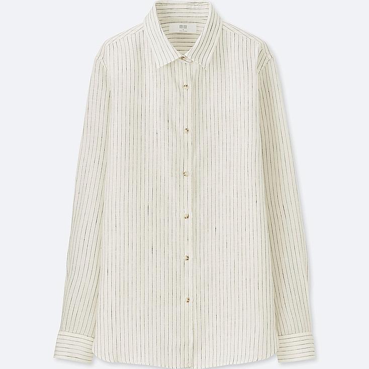 WOMEN Premium Linen Striped Long Sleeve Shirt