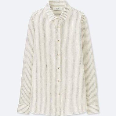 WOMEN Premium Linen Striped Long Sleeve Shirt