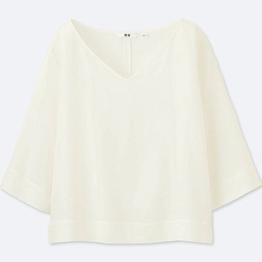 WOMEN Drape 3/4 Sleeve Blouse