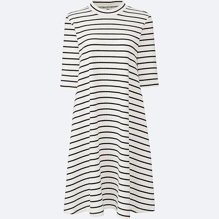 WOMEN Ribbed Cotton Flare Striped Dress