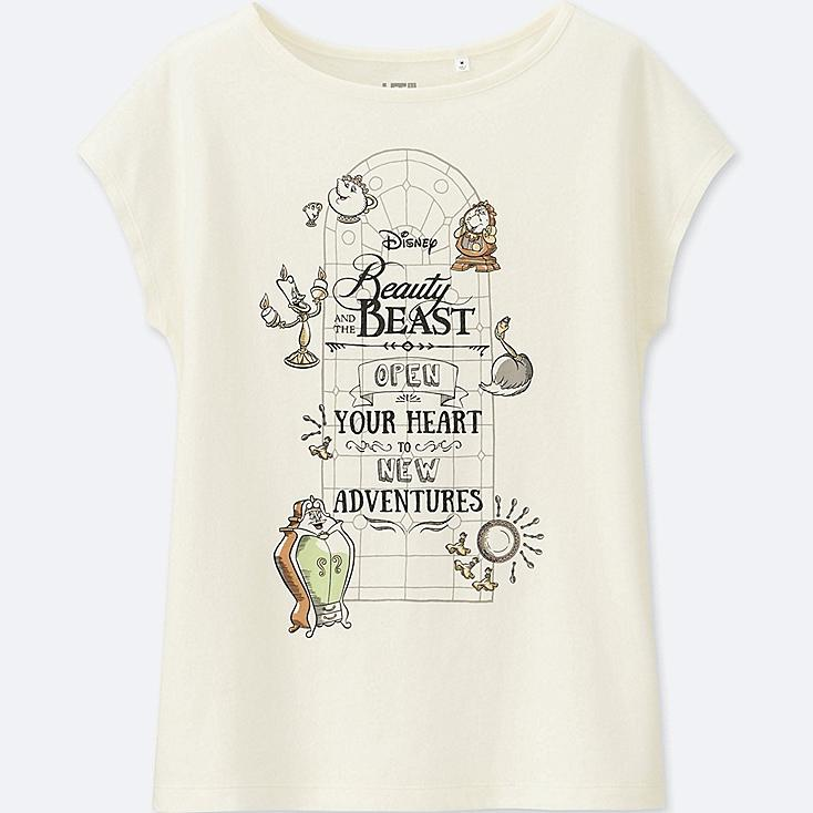 WOMEN Disney 'Beauty and the Beast' SHORT SLEEVE GRAPHIC T-SHIRT, OFF WHITE, large