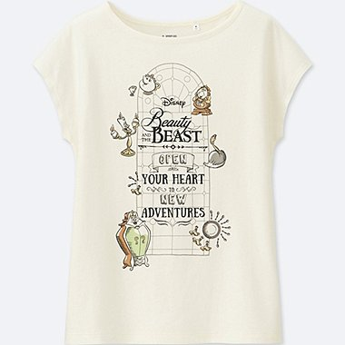 WOMEN Disney Beauty and the Beast SHORT SLEEVE GRAPHIC T-SHIRT, OFF WHITE, medium
