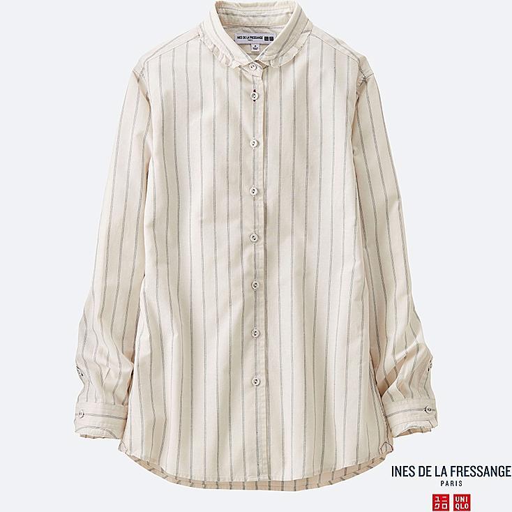 WOMEN INES Cotton Striped Frill Collar Long Sleeve Shirt