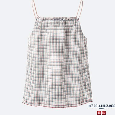 WOMEN INES Linen Cotton Check Camisole