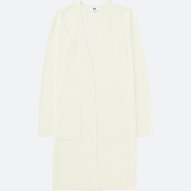 WOMEN Ribbed Long Cardigan