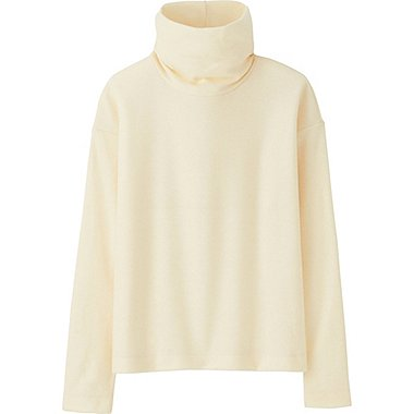 WOMEN HEATTECH FLEECE OFF TURTLENECK LONG-SLEEVE T-SHIRT, OFF WHITE, medium