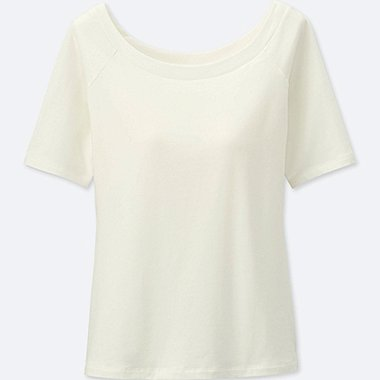 WOMEN BRA BALLET NECK SHORT SLEEVE T-SHIRT, OFF WHITE, medium