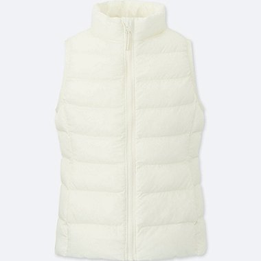 GIRLS LIGHT WARM PADDED VEST, OFF WHITE, medium