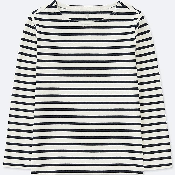 KIDS STRIPED BOATNECK LONG-SLEEVE T-SHIRT, OFF WHITE, large