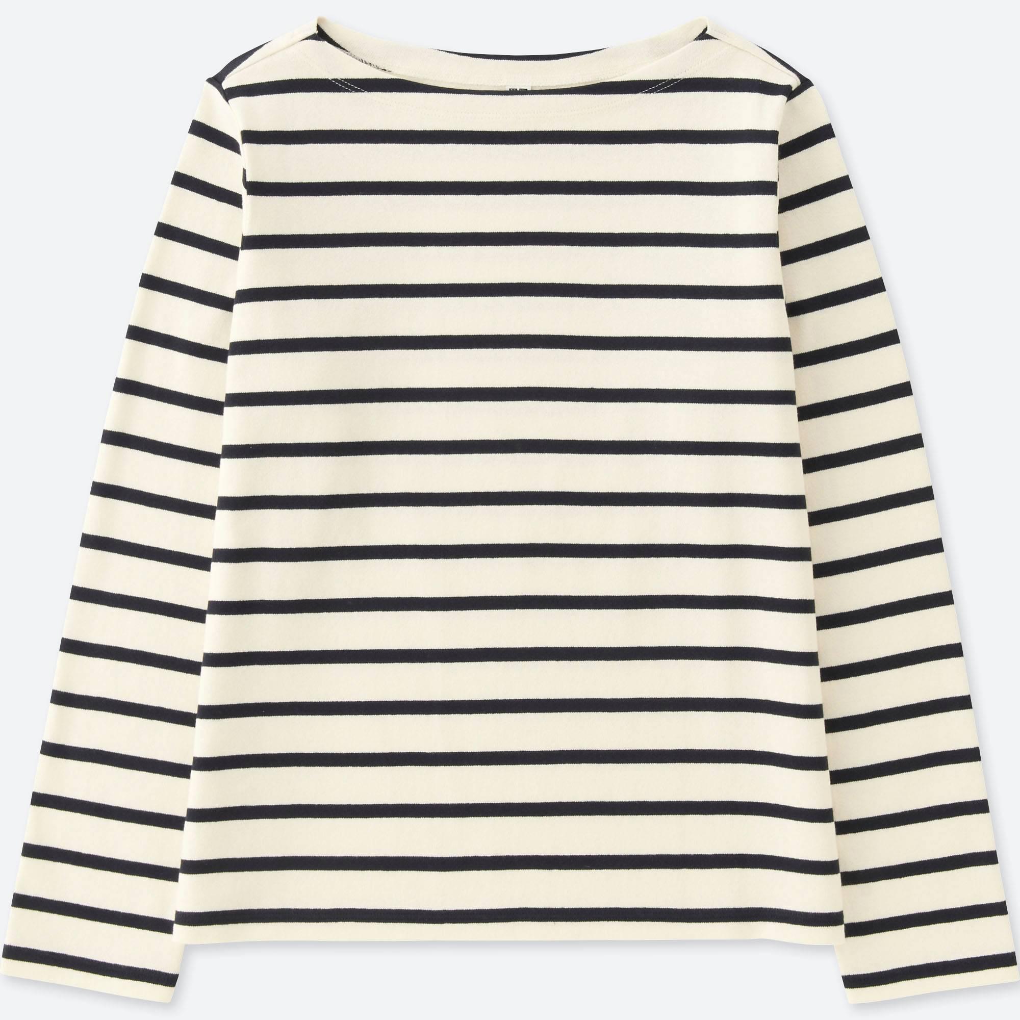 WOMEN STRIPED BOAT NECK LONG-SLEEVE T-SHIRT | UNIQLO US