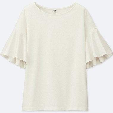 WOMEN MERCERIZED COTTON FLARE SHORT-SLEEVE T-SHIRT, OFF WHITE, medium