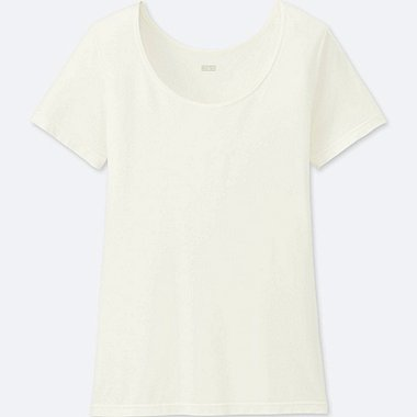 WOMEN HEATTECH SCOOP NECK SHORT-SLEEVE T-SHIRT, OFF WHITE, medium