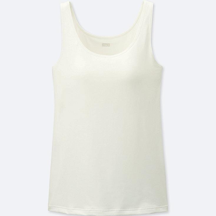 WOMEN HEATTECH SLEEVELESS BRA TOP, OFF WHITE, large