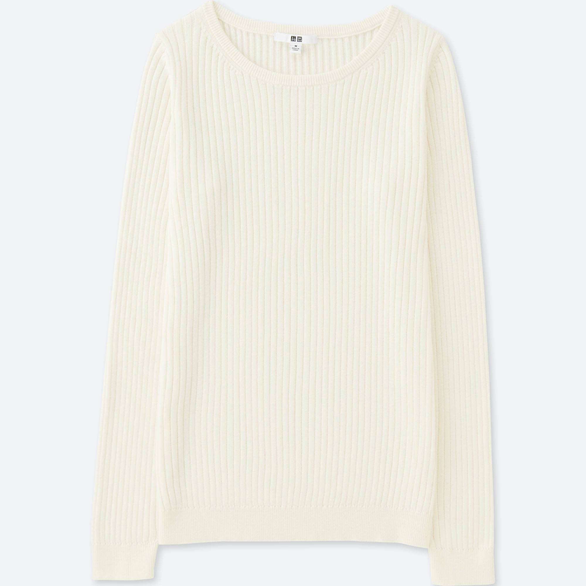 WOMEN COTTON CASHMERE RIBBED SWEATER | UNIQLO US