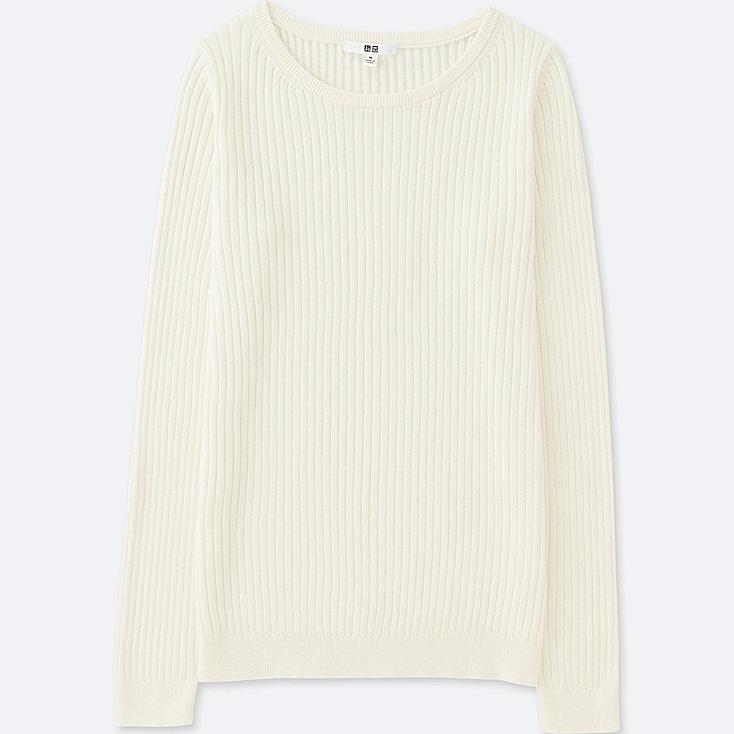 WOMEN COTTON CASHMERE RIBBED SWEATER