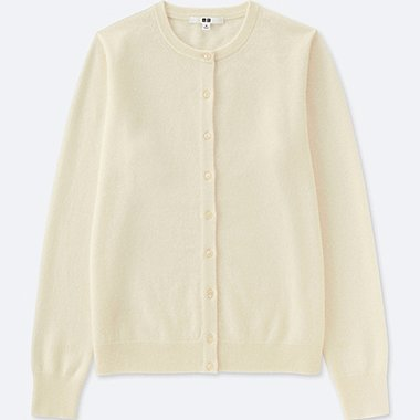 WOMEN CASHMERE CREW NECK CARDIGAN (ONLINE EXCLUSIVE), OFF WHITE, medium