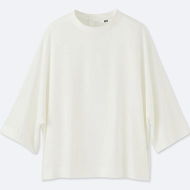 WOMEN DRAPE MOCKNECK 3/4 SLEEVE BLOUSE