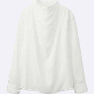 WOMEN RAYON LONG-SLEEVE BLOUSE, OFF WHITE, medium
