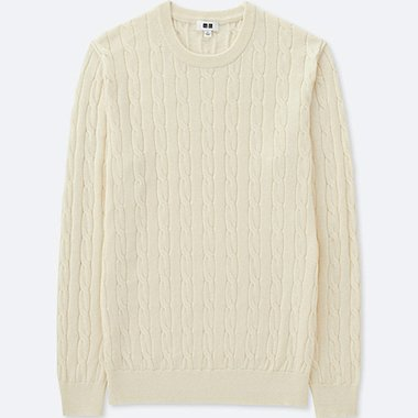 MEN COTTON CASHMERE CABLE CREW NECK SWEATER, OFF WHITE, medium