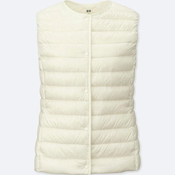 Women Ultra Light Down Compact Vest, OFF WHITE, large