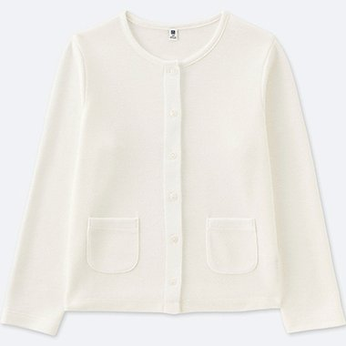 GIRLS JERSEY CREW NECK CARDIGAN