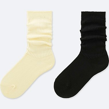 GIRLS BAGGY SOCKS (2 PAIRS), OFF WHITE, medium