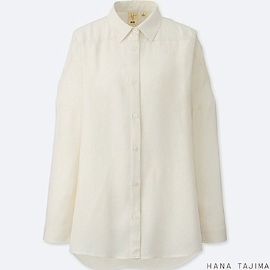 WOMEN OVERSIZE LONG-SLEEVE SHIRT, OFF WHITE, medium