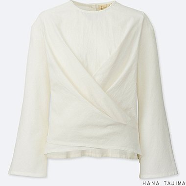 WOMEN CACHE COEUR LONG-SLEEVE BLOUSE, OFF WHITE, medium