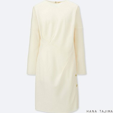 WOMEN TUCK LONG-SLEEVE TUNIC, OFF WHITE, medium