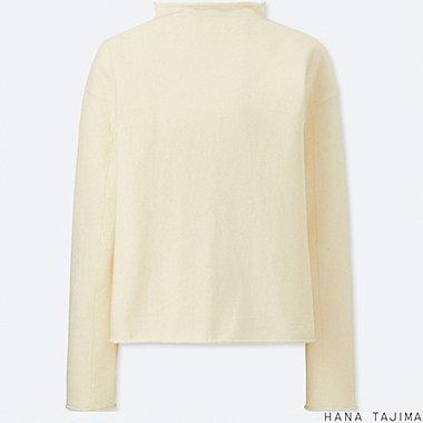 WOMEN COTTON CASHMERE MOCK NECK SWEATER, OFF WHITE, medium