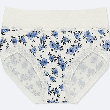 WOMEN HIGH-RISE BRIEFS (FLOWER), OFF WHITE, medium