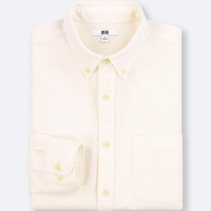 MEN CORDUROY LONG-SLEEVE SHIRT (ONLINE EXCLUSIVE), OFF WHITE, large