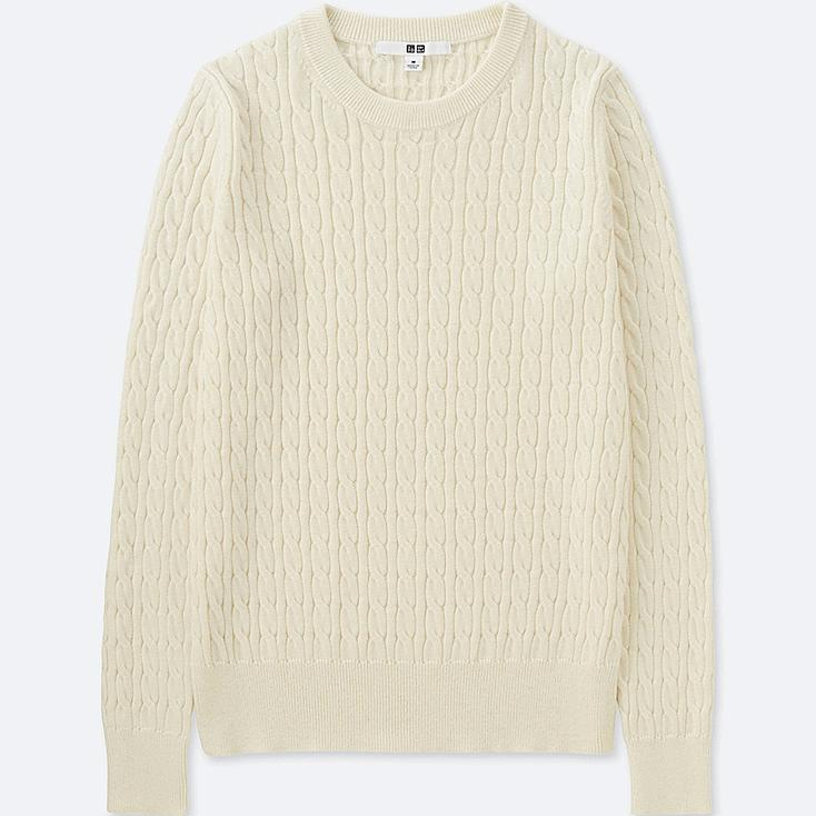 WOMEN COTTON CASHMERE CABLE CREW NECK SWEATER