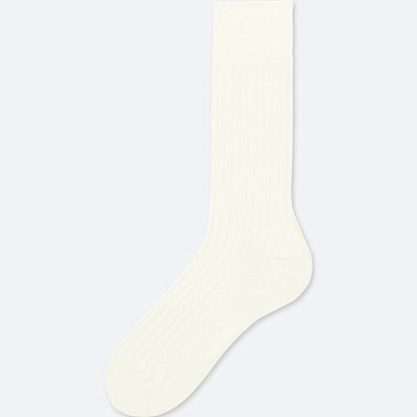 MEN HEATTECH WIDE-RIB SOCKS, OFF WHITE, medium