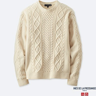 MEN INES CABLE CREW NECK SWEATER