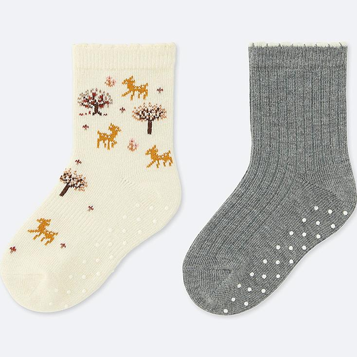 SOCKS 2 PAIRS, OFF WHITE, large