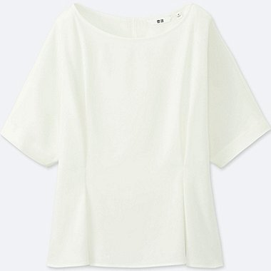 WOMEN DRAPE TUCK SHORT-SLEEVE T BLOUSE, OFF WHITE, medium