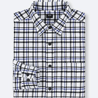 MEN FLANNEL CHECKED LONG-SLEEVE SHIRT, OFF WHITE, medium